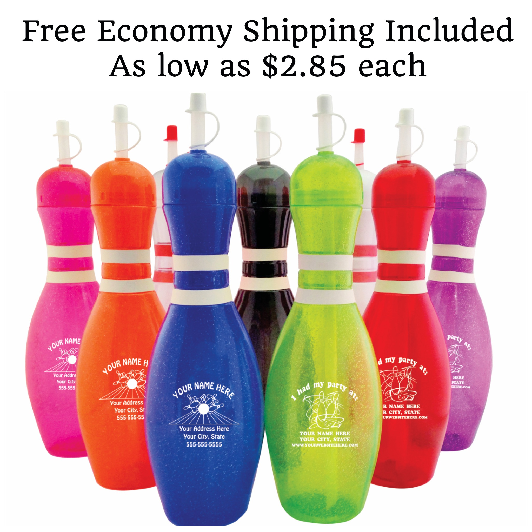Personalized Bowling Pin Water Bottles