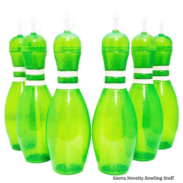 Large Bowling Pin Water Bottles Green - 6 pack