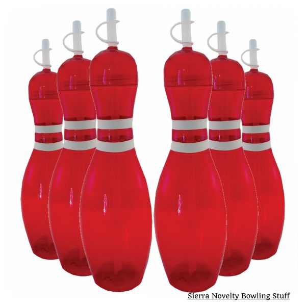 Large Bowling Pin Water Bottles Red - 6 pack