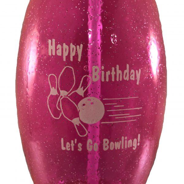 Birthday Bowling Pin Bottle Pink