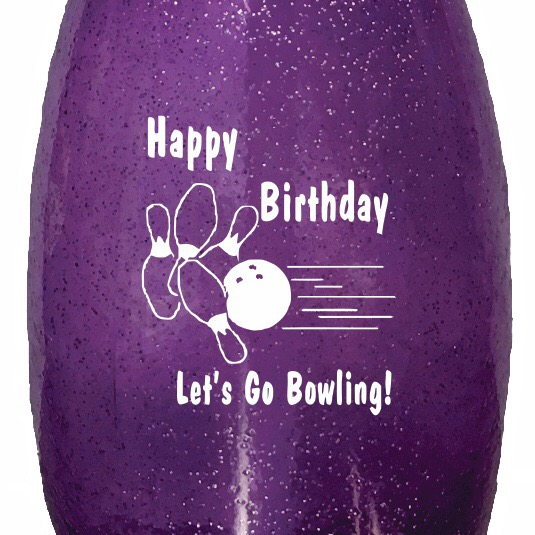 Birthday Bowling Pin Water Bottle Purple