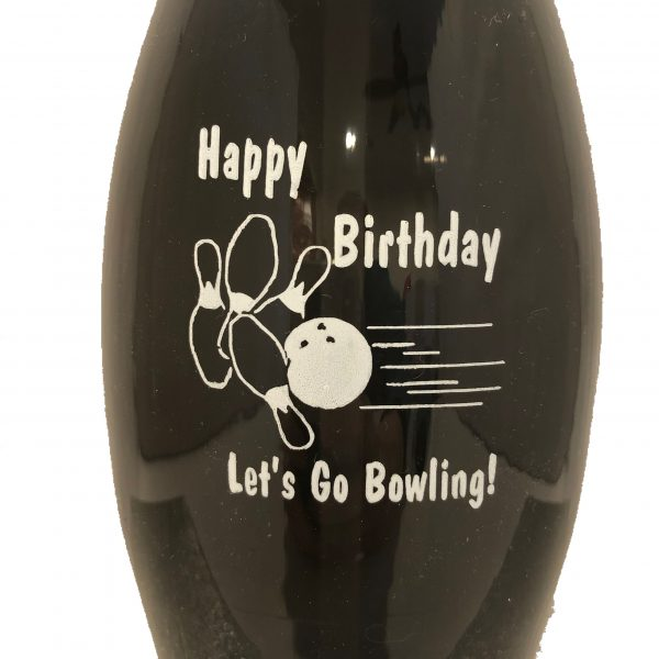 Birthday Bowling Pin Bottle Black