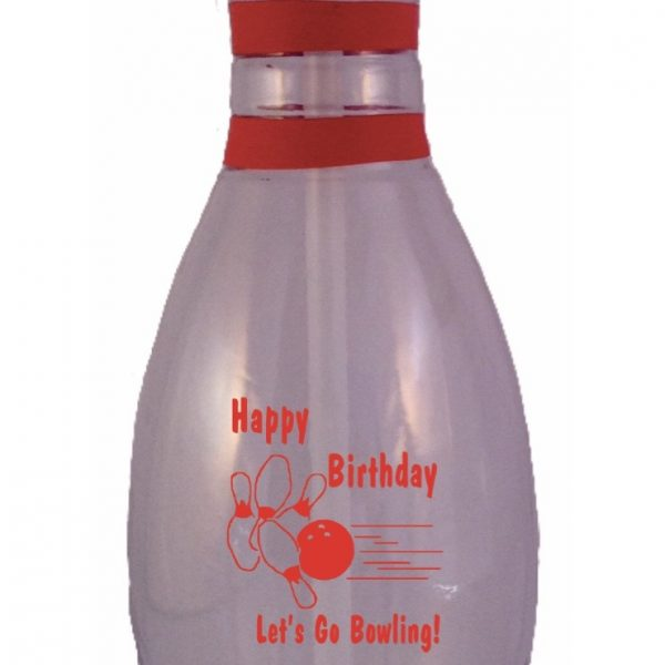 Birthday Bowling Pin Water Bottle Clear