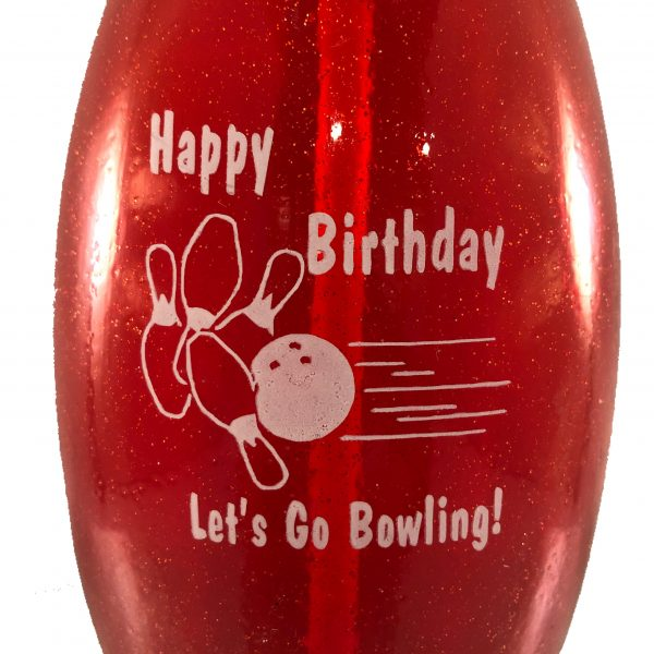 Birthday Bowling Pin Bottle Red
