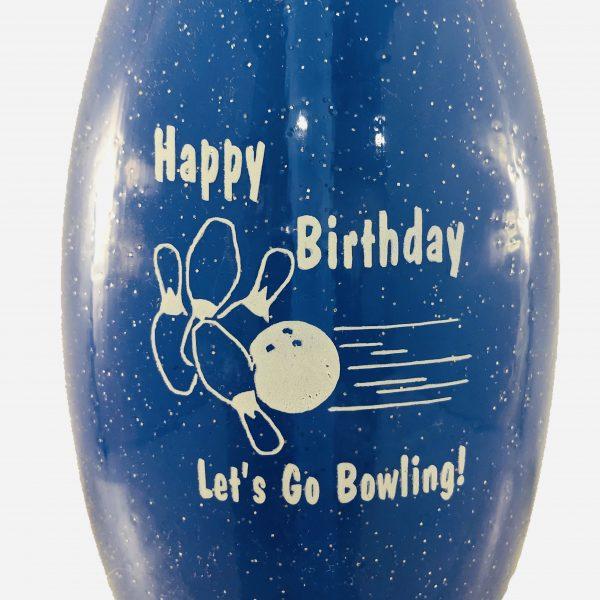 Birthday Bowling Pin Bottle Blue