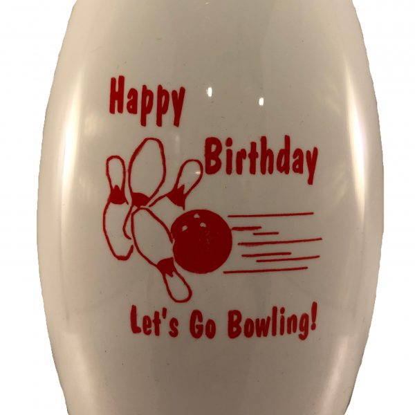 Birthday Bowling Pin Bottle White