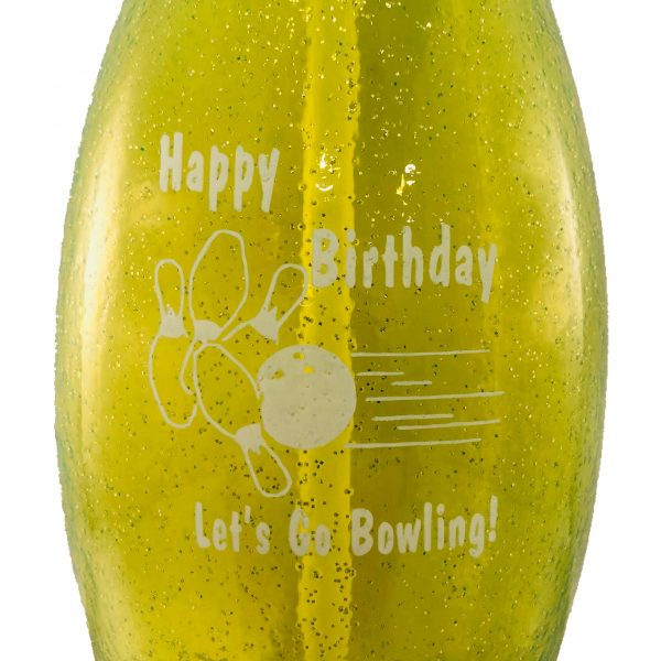 Birthday Bowling Pin Water Bottle Green