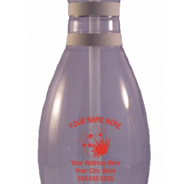 Personalized Bowling Pin Water Bottle Clear