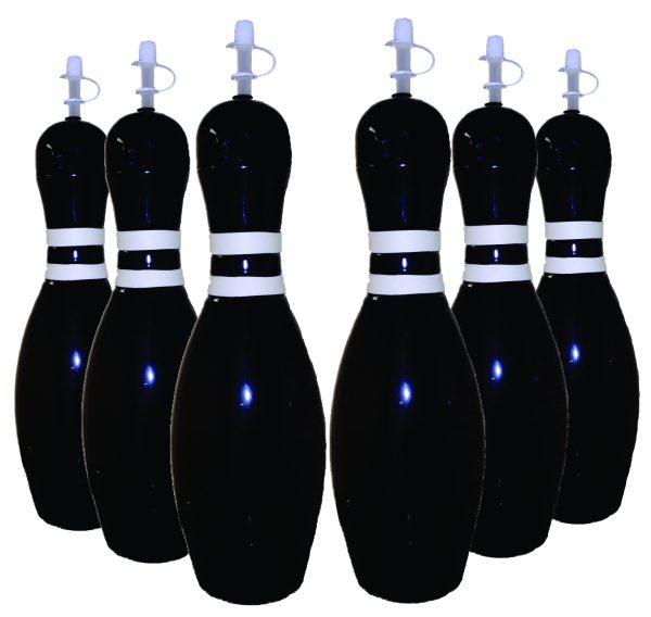 Bowling Pin Water Bottle 6 pack Black