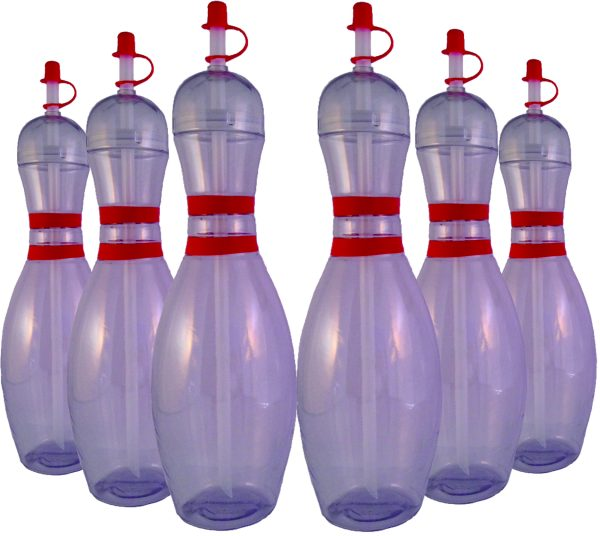 Clear Bowling Pin Water Bottles 6 pack