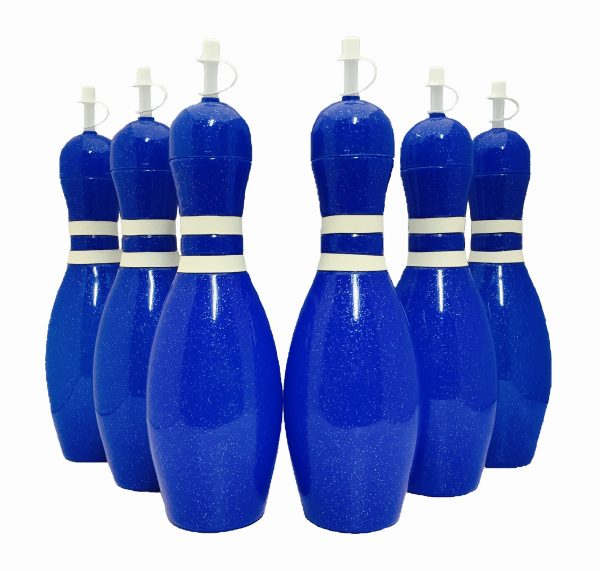 Bowling Pin Water Bottle 6 pack Blue
