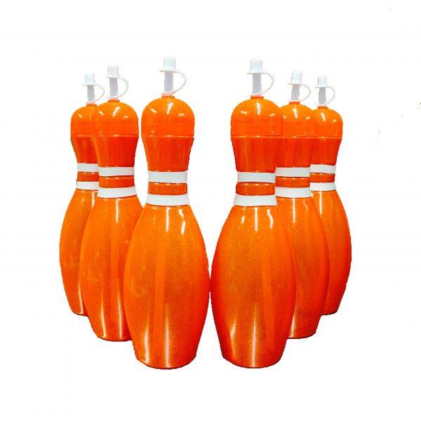 Bowling Pin Water Bottle 6 pack Orange