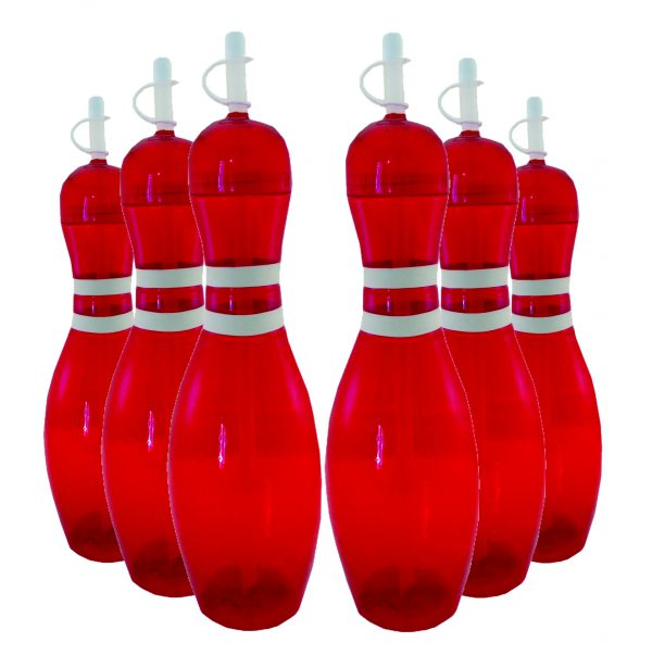 Bowling Pin Water Bottle 6 pack Red