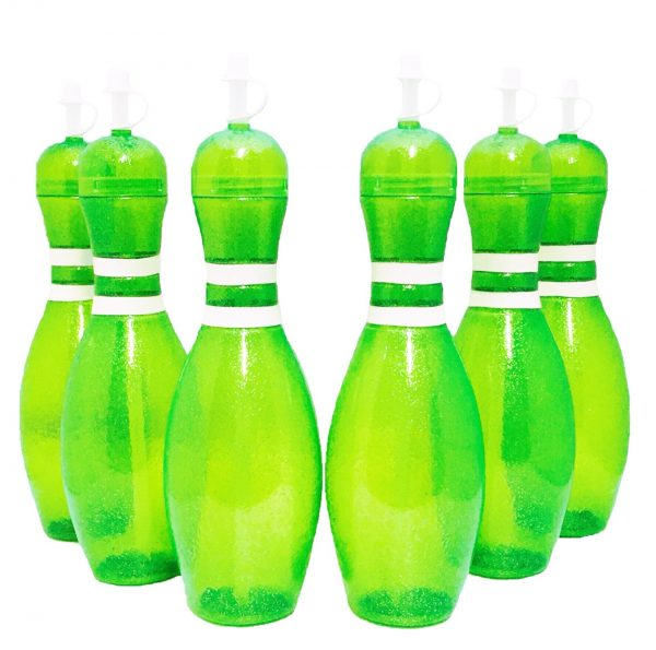 Bowling Pin Water Bottle 6 pack Green