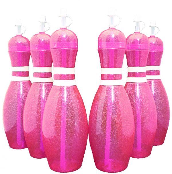 Bowling Pin Water Bottle 6 pack Pink